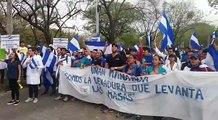Estudiantes atrincherados dentro de la UNAN, reciben con alegria y celebran llegada de los manifestantes disparando morteros     Más información en  goo.gl