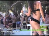 Girls dancing at Super Paradise for Penthouse Beach Party   Mykonos