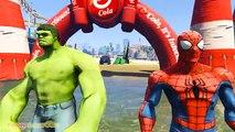 SUPERHEROES Water Jumping Challenge on Jet Ski w Batman, Spiderman, Hulk. Funny Kids Video