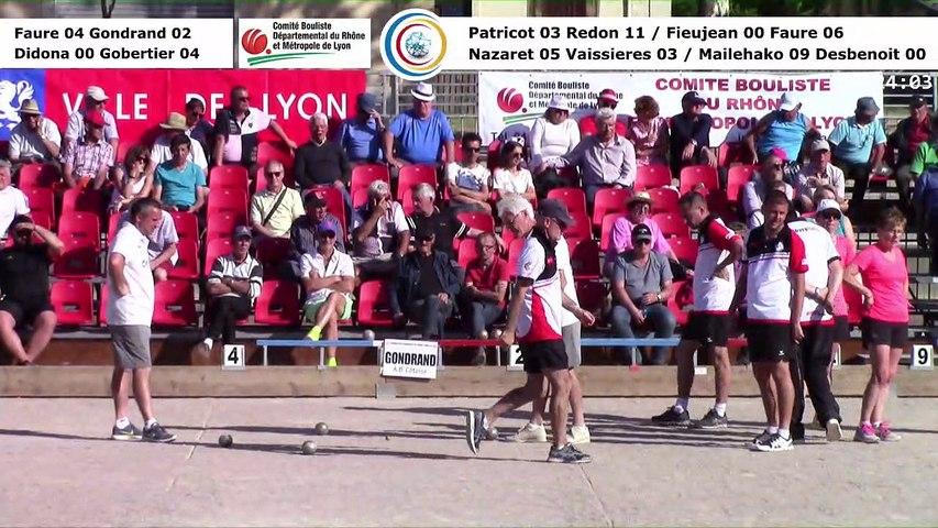 Barrages, 2ème phase M1 et quarts de finale F1, 106èmes Tournois Boulistes de Pentecôte, Lyon 2018
