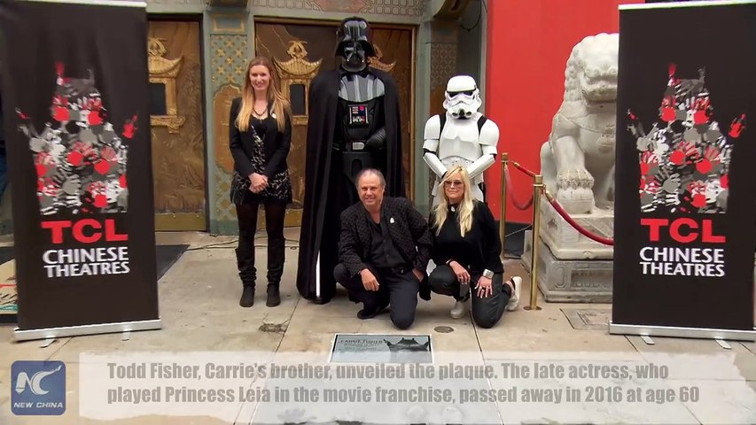 An engraved granite plaque honoring late Star War actress Carrie Fisher was unveiled on Thursday at TCL Chinese Theater in Hollywood, Los Angeles. Though she ne   Godialy.com