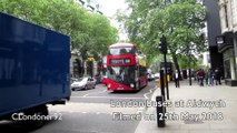 London Buses, New Routemasters, open-top tour buses, trucks and other vehicles at Aldwych - May 2018