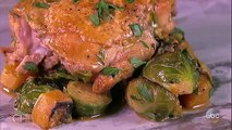 Almond Braised Chicken Thighs with Butternut Squash and Brussels Sprouts | The Chew
