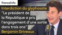 """Interdiction du glyphosate : """"Le président de la République a pris l'engagement d'une sortie dans trois ans. Ce sera fait, en partenariat avec les industriels"""", assure Benjamin Griveaux #8h30politique"""