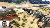 ARK Survival Evolved Giganotosaurus VS T-REX MOD | Batalla dinosaurios arena gameplay español