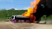 Alev alev yanan halk otobüsü küle döndü