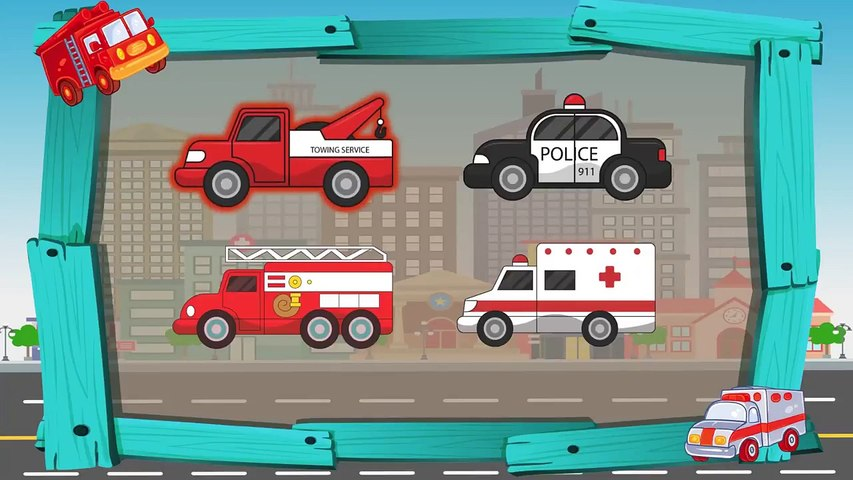 Learn Colors with Dinosaurs Fire Truck & Ambulance - Vehicles Cars for Kids