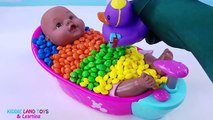 Learn Colors with Baby Doll Skittles M&Ms Nursery Rhymes Best Pretend Play Video for Kids Toddlers