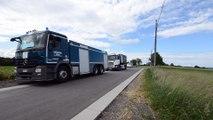 Trois camions de la protection civile de Crisnée ravitaillent le réservoir de la rue d'Atrin à Clavier suite aux intempéries