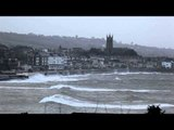 Penzance sea front hit by huge waves on 'Wild Wednesday'