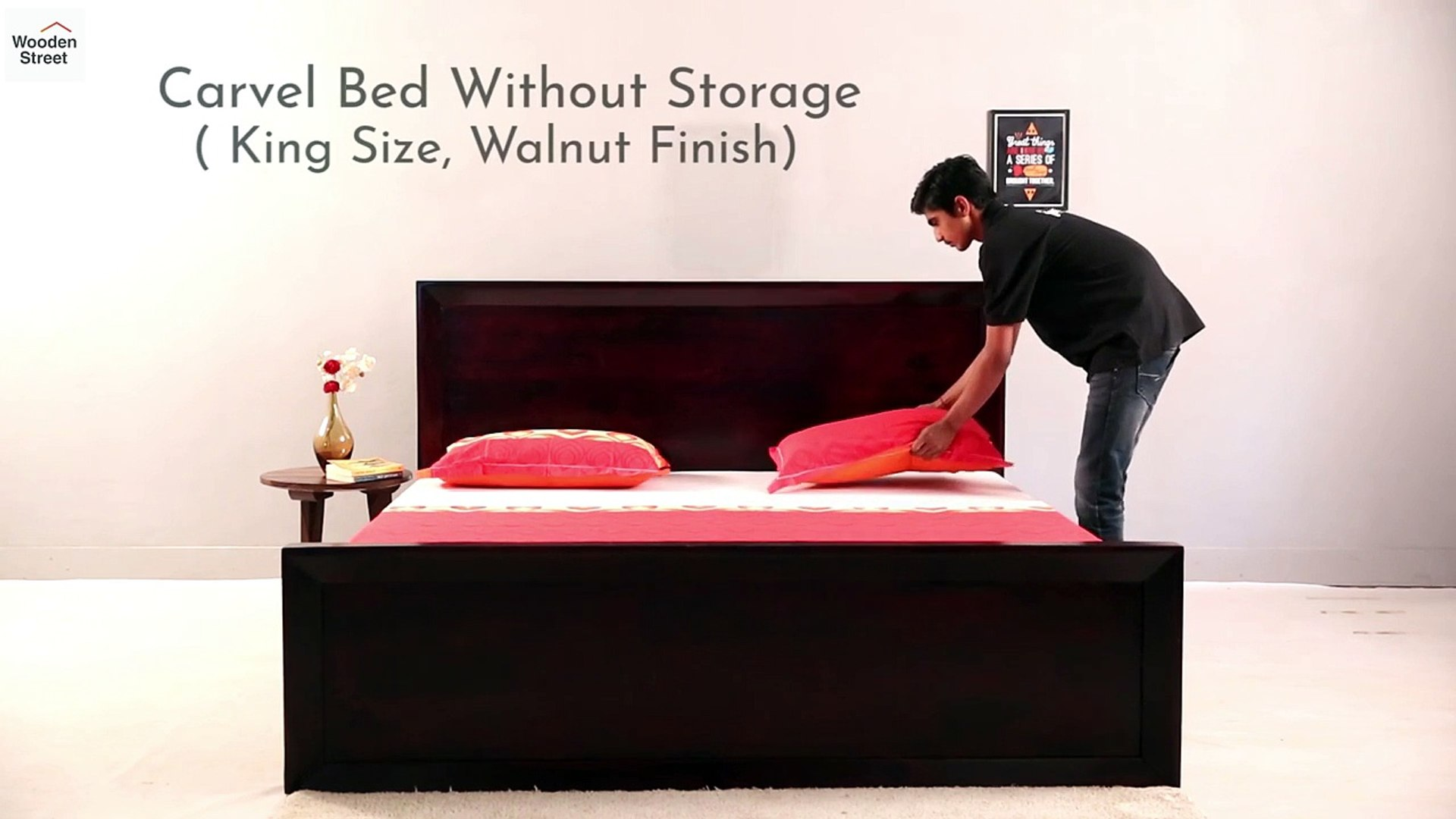 Picture of: King Size Bed Shop Carvel Bed Without Storage In Walnut Finish Online From Wooden Street Video Dailymotion