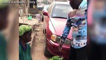 Die arme Frau saß den ganzen Tag in der Hitze und versuchte ihre Ware zu verkaufen, als ein barmherziger Mann auftaucht und ihr zu einem guten Preis alles abkau