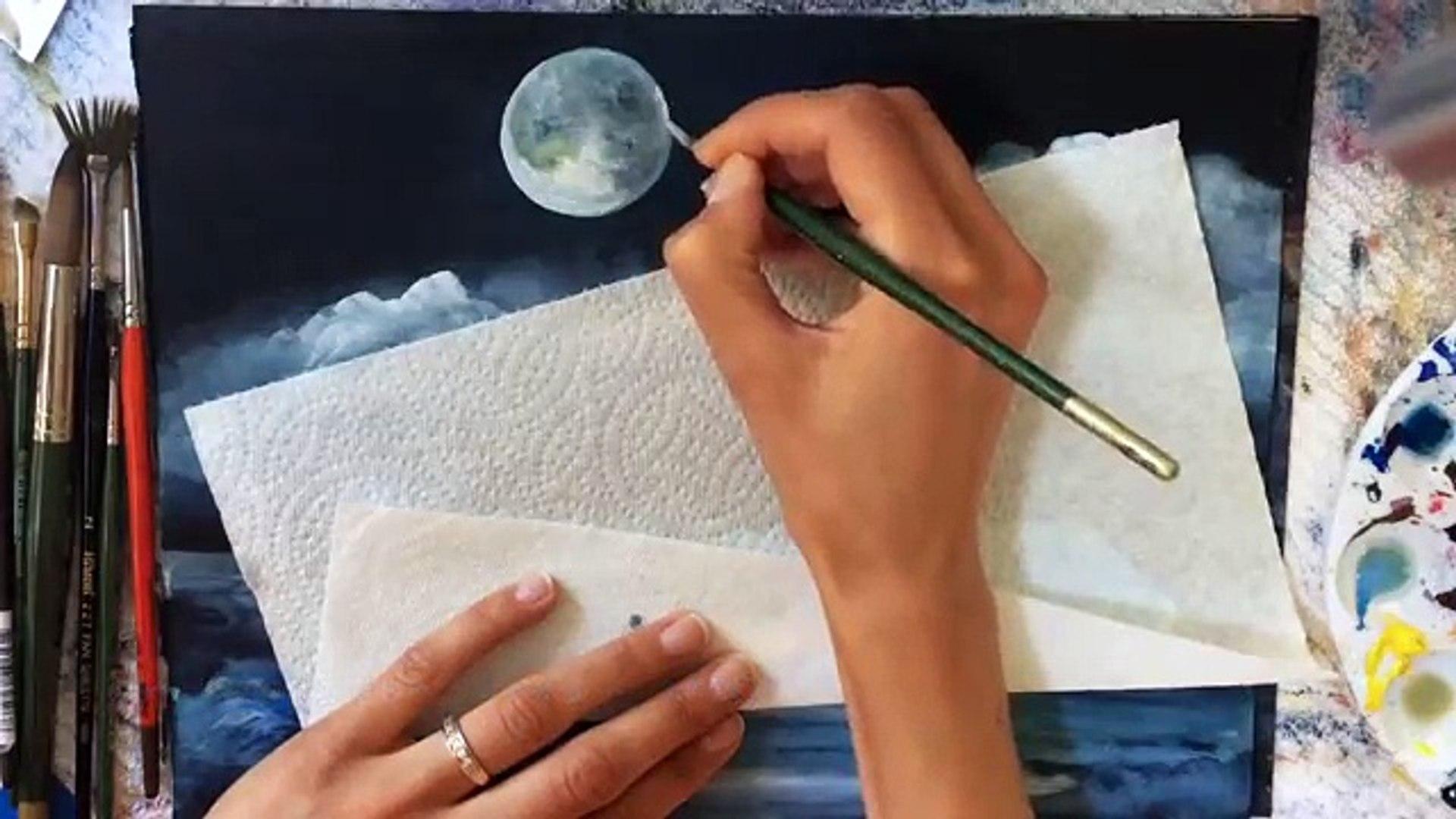 Watercolor Winters Moon Full Demonstration in Detail