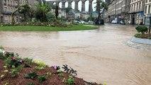 Le centre-ville inondé après l'orage
