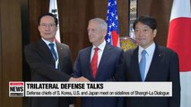 Defense ministers of S. Korea, U.S. and Japan reaffirm their military cooperation for successful denuclearization of N. Korea