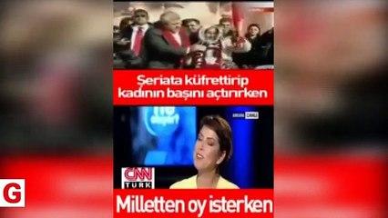 CHP'li Tuncay Özkan başörtülü kadına şeriata küfrettirip başörtüsünü çıkartırken
