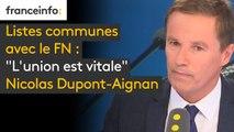 """Listes communes avec le FN : """"L'union est vitale, mais l'union que je veux faire, c'est une union beaucoup plus large. Le duo qu'on a mené à la présidentielle n'a pas suffit"""", explique Nicolas Dupont-Aignan #8h30politique"""