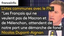 """Listes communes avec le FN : """"Les Français qui ne veulent pas de Macron et de Mélenchon, attendent de notre part une démarche de fond, des propositions fondamentales pour l'Europe"""", explique Nicolas Dupont-Aignan #8h30politique"""