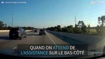 Spectaculaire accident de voiture sur une autoroute