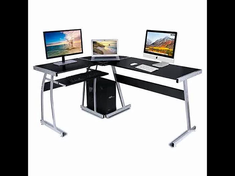 [- Computer Desk, DOSLEEPS L-Shaped Large Corner PC Laptop Desk Study Table Workstation Gaming Desk