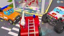 Car Kids Cartoon with Fire Truck & Trucks in the Big City Children Video Cars Te