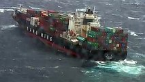 VIDEO: Damaged shipping containers hanging off this cargo ship which was rocked by wild waves off Australia. About 80 containers are lost at sea.(: Reuters)