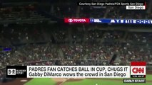 Baseball fan catches foul ball in beer