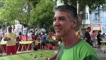 Buttons fly in Brazilian table-top football game