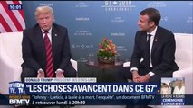 """Sommet du G7: """"Les choses avancent"""" se félicite Macron face à Trump"""