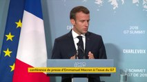 """Ce sommet du G7 """"ne lève pas tous les désaccords mais il nous a permis de préserver l'unité sur tous les sujets où elle était possible : affaires étrangères, commerce..."""", réagit Emmanuel Macron"""