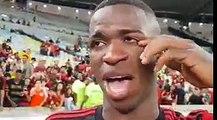 Las lágrimas de Vinicius en su despedida del Flamengo
