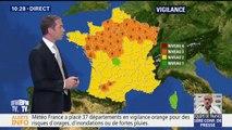 Météo France place 37 départements en vigilance orange pour des risques d'orages, d'inondations ou de fortes pluies