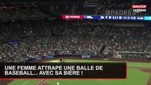 Une femme attrape une balle de baseball... grâce à sa bière ! (Vidéo)