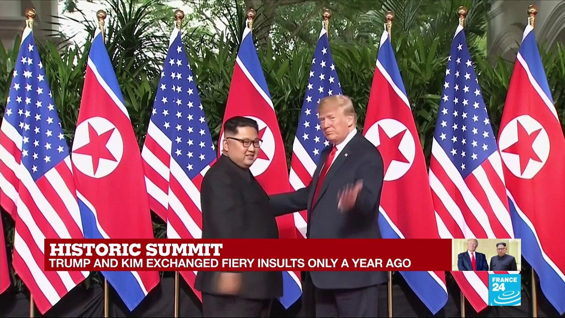 Historic summit: Trump and Kim shake hands as unprecendented talks start