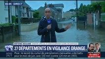 Inondations: des rues transformées en rivières à Châteaubriant (Loire-Atlantique)