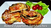 Baked Eggplant Sandwiches - Easy Stuffed Eggplant with Chicken & Cheese Recipe