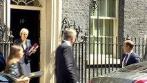 Theresa May departs Downing Street ahead of PMQs