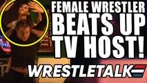 Female Wrestler beats up TV host