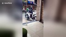 Furious hairdressers soak serial masturbator parked outside of salon