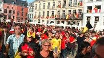 Ambiance sur la Grand-Place de Mons lors de Belgique-Panama