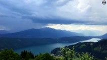 Magnifiques images d'une précipitation sur le lac Millstätter, en Autriche.