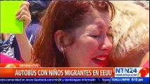 Manifestantes en Texas lograron detener brevemente bus con niños migrantes