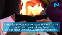 Viral: Man Lights Up Cigarette Inside Stadium Using Wallet