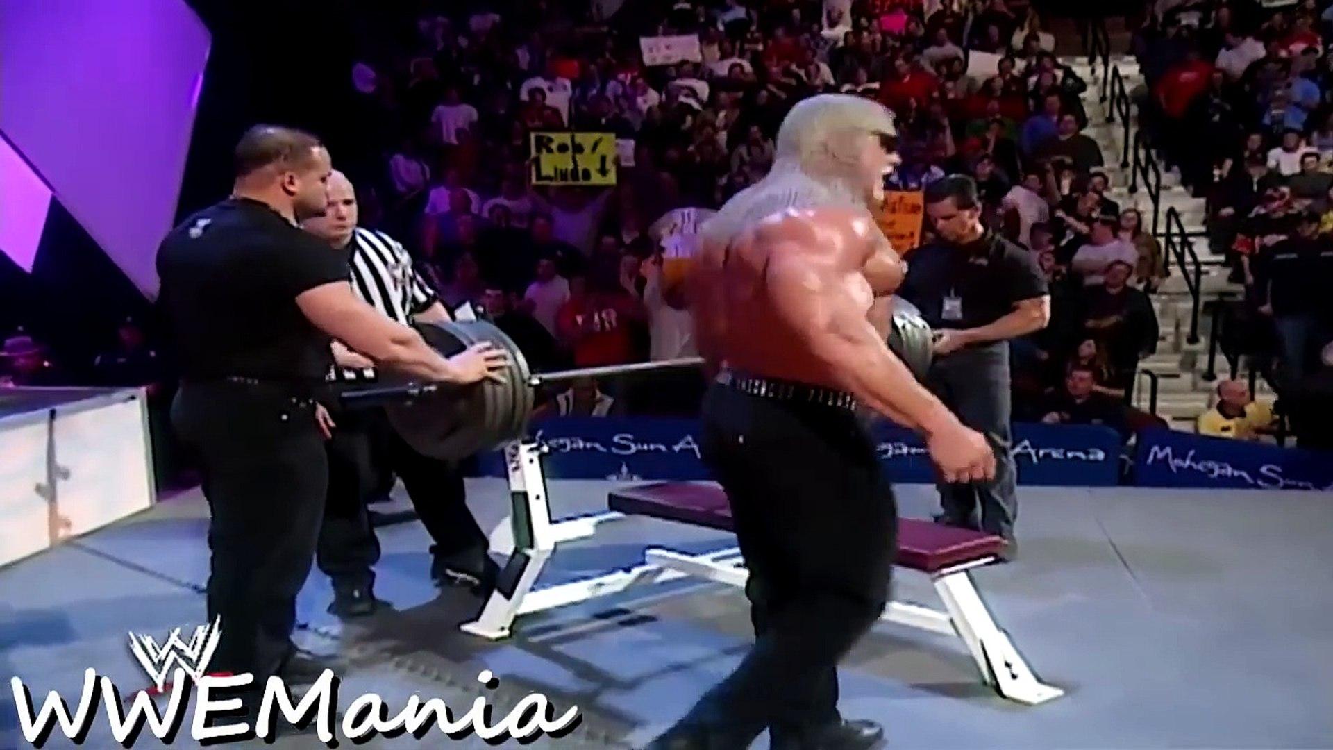 WWE SCOTT STEINER VS TRIPLE H - BENCH PRESS COMPETITION - RAW 2003 - WWE WWF Wrestling MMA Fighting