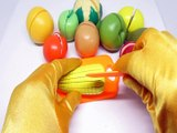 LEARN COLORS & NAMES of FRUITS & VEGETABLES with toy velcro cutting fruits and vegetables
