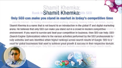 Shamit Khemka - SEO can help businesses excel in competition
