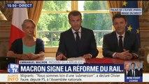 """Signature de la réforme du rail: """"Par cette loi, le gouvernement prend ses responsabilités pour faire ce qui était évité depuis tant de décennies"""", déclare Macron"""