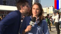 World Cup reporter tells off jerk for inappropriate kissing attempt