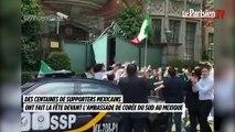 Les supporters mexicains font la fête devant l'ambassade de Corée du Sud au Mexique