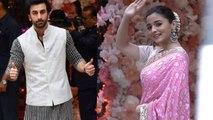 Ranbir Kapoor &  Alia Bhatt  reach Separately at Akash Ambani-Shloka pre-engagement party FilmiBeat